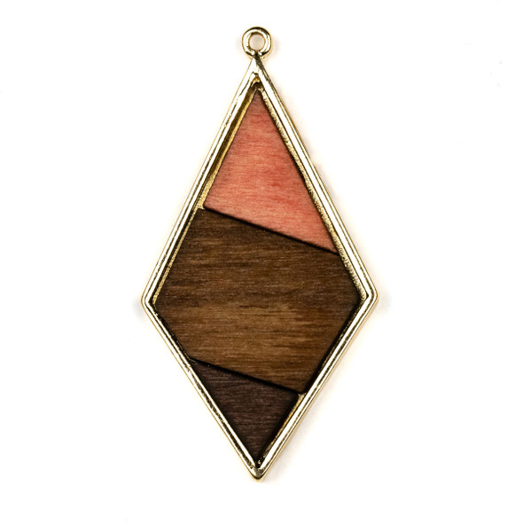 Mosaic Aspen Wood & Gold Colored Pewter 29x56mm Diamond Geometric Pendant - 1 per bag