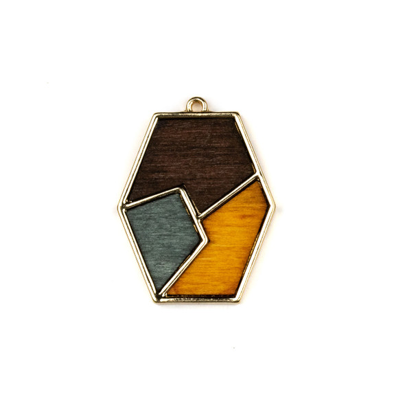Mosaic Aspen Wood & Gold Colored Pewter 25x33mm Long Hexagon Geometric Pendant - 1 per bag