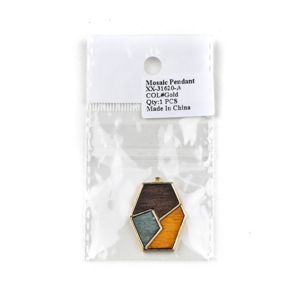 Mosaic Aspen Wood & Gold Colored Pewter 28x40mm Irregular Diamond Dangle Pendant - 1 per bag