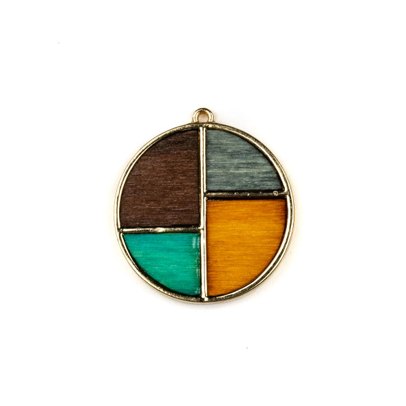 Mosaic Aspen Wood & Gold Colored Pewter 28x31mm Coin Geometric Pendant - 1 per bag