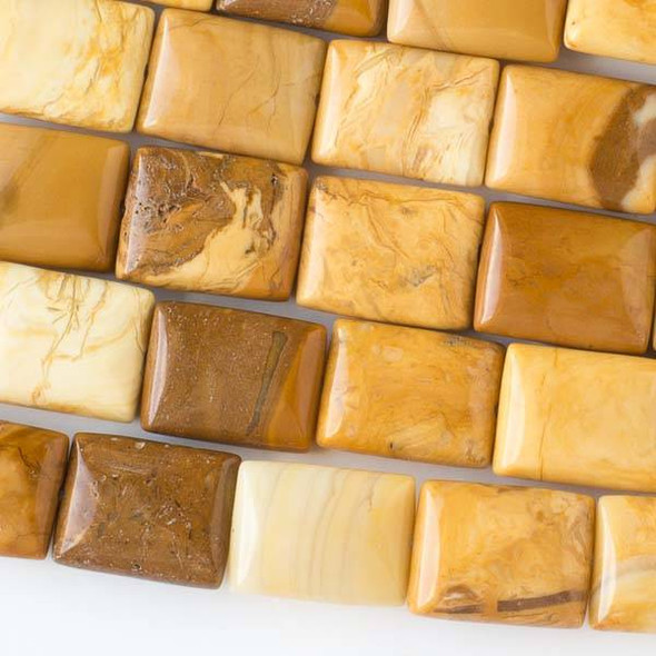 African Yellow Jasper 10x14mm Rectangle Beads - 8 inch strand