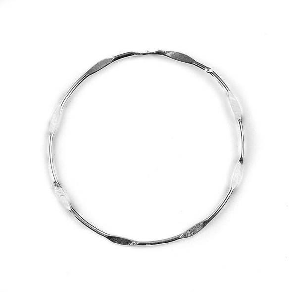 Silver Plated Brass 45mm Partially Hammered Hoops with Hole at Top - 6 per bag