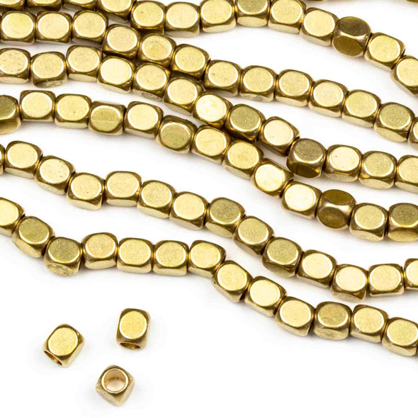 Raw Brass 3x3.5mm Long Cube Beads with 1.3mm Hole - approx. 8 inch strand