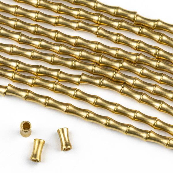 Raw Brass 3x5mm Dog Bone Spacer Beads with approximately 1.3mm Hole - approx. 8 inch strand