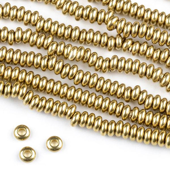 Raw Brass 2x4mm Rondelle Spacer Beads with approximately 2mm Large Hole - approx. 8 inch strand