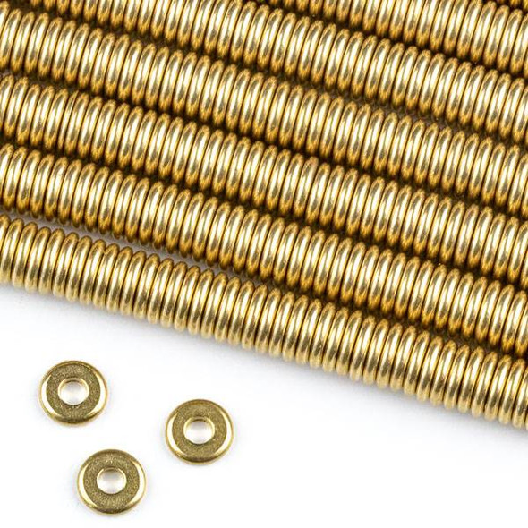 Raw Brass 1x6mm Tire/Ring Spacer Beads with approximately 2mm Large Hole - approx. 8 inch strand