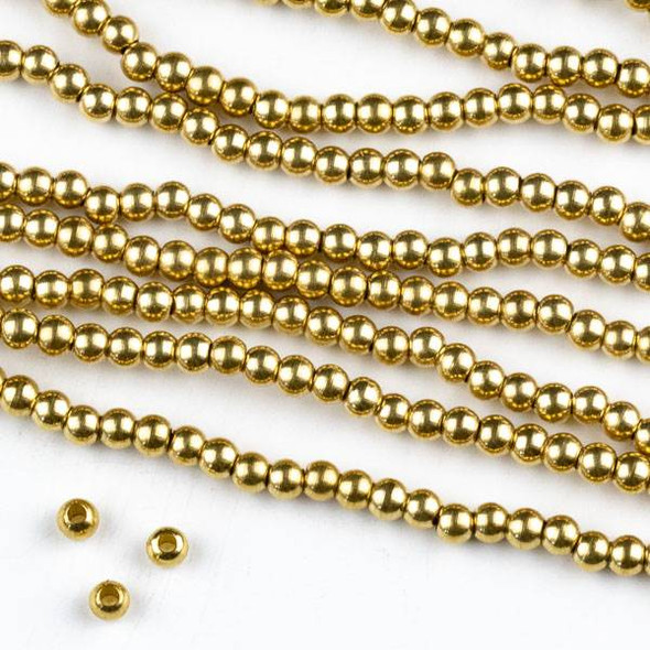 Raw Brass 3mm Round Beads with approximately 1.75mm Large Hole - approx. 8 inch strand