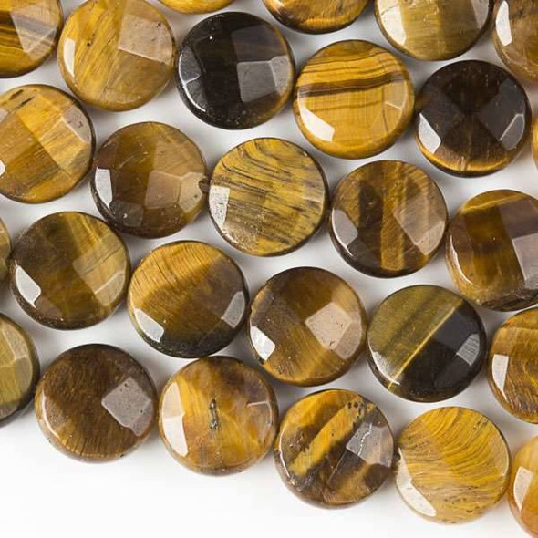 Yellow Tigereye Faceted 10mm Coin Beads - approx. 8 inch strand, Set B