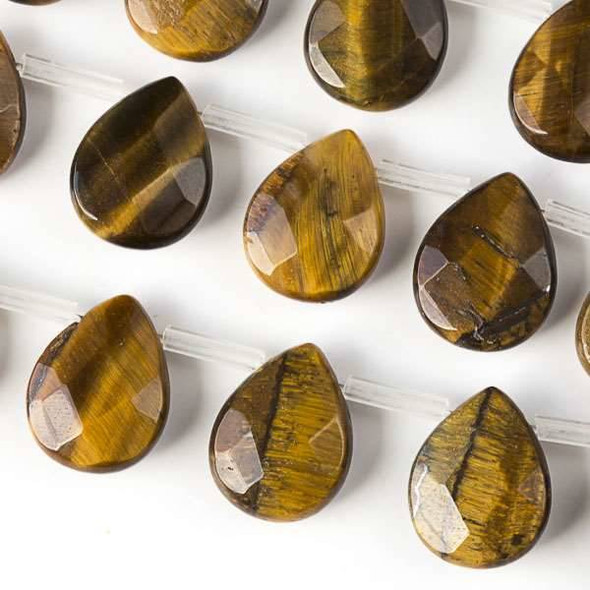Yellow Tigereye Faceted 12x15mm Top Drilled Teardrop Beads - approx. 8 inch strand, Set B