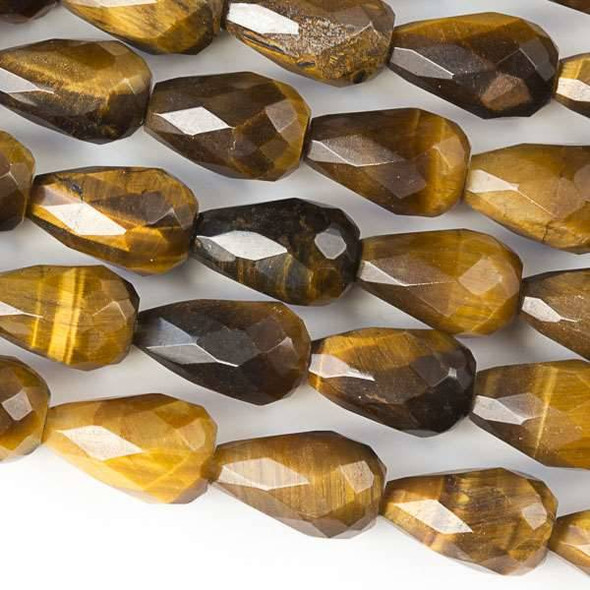 Yellow Tigereye Faceted 8x12mm Rounded Teardrop Beads - approx. 8 inch strand, Set B