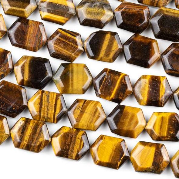 Yellow Tigereye 12x15mm Hexagon Beads - 8 inch strand