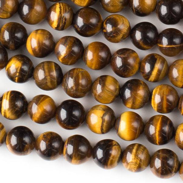 Yellow Tigereye 8mm Round Beads - approx. 8 inch strand, Set A
