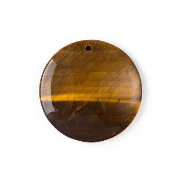 Yellow Tigereye 40mm Top Front to Back Drilled Coin Pendant with a Flat Back - 1 per bag