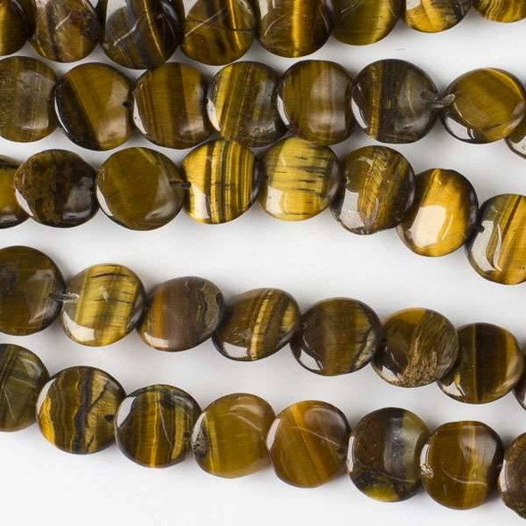 Yellow Tigereye 12mm Overlapping Coin/Lentil Beads - 16 inch strand