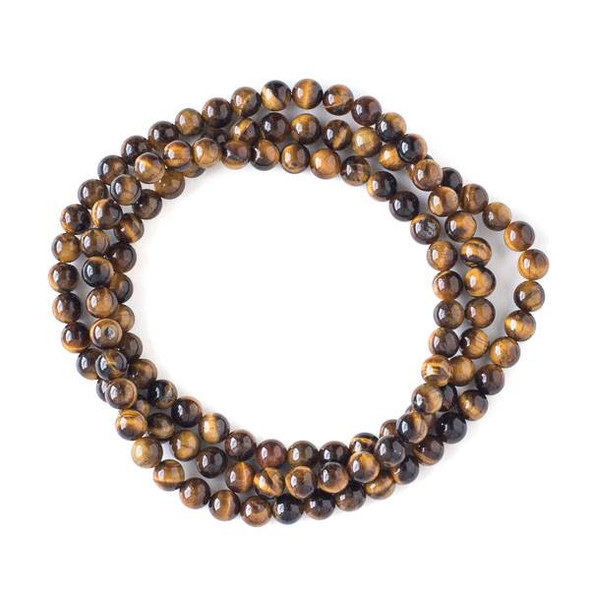 Yellow Tigereye 6mm Mala Round Beads - 29 inch strand