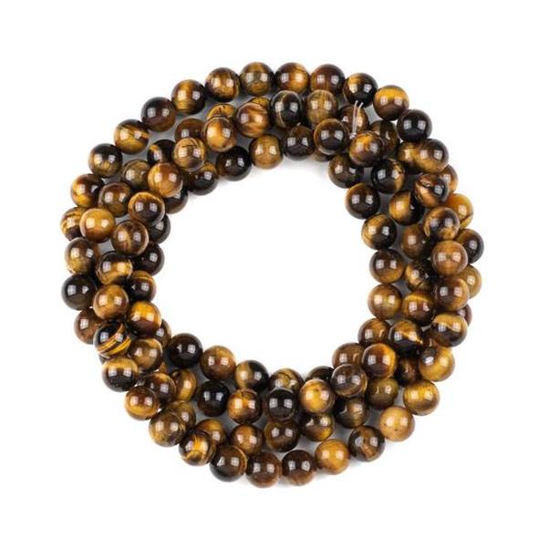 Yellow Tigereye 8mm Mala Round Beads - 36 inch strand