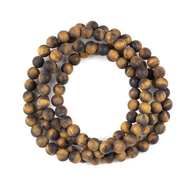 Matte Yellow Tigereye 8mm Mala Round Beads - 36 inch strand