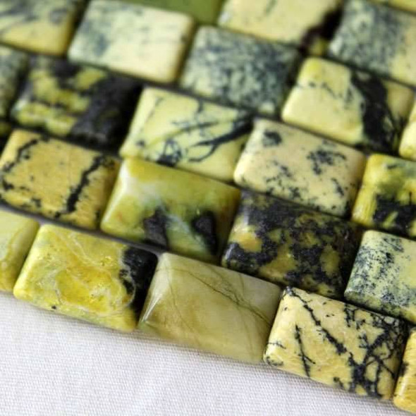 Yellow Turquoise 10x14mm Rectangle Beads - approx. 8 inch strand, Set A