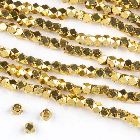 Raw Brass 3mm Faceted Cube Beads with approximately 1.75mm Large Hole - approx. 8 inch strand