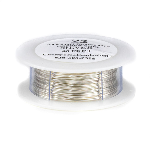 22 Gauge Coated Tarnish Resistant Fine Silver Plated Copper Wire on a 60-foot Spool
