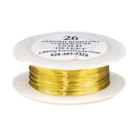 26 Gauge Coated Tarnish Resistant Gold Plated Copper Wire on 150 Foot Spool
