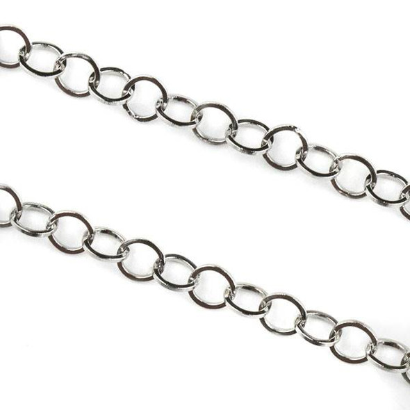 Natural Silver Stainless Steel 4mm Cable Chain - 10 meter spool, SS10s-sp