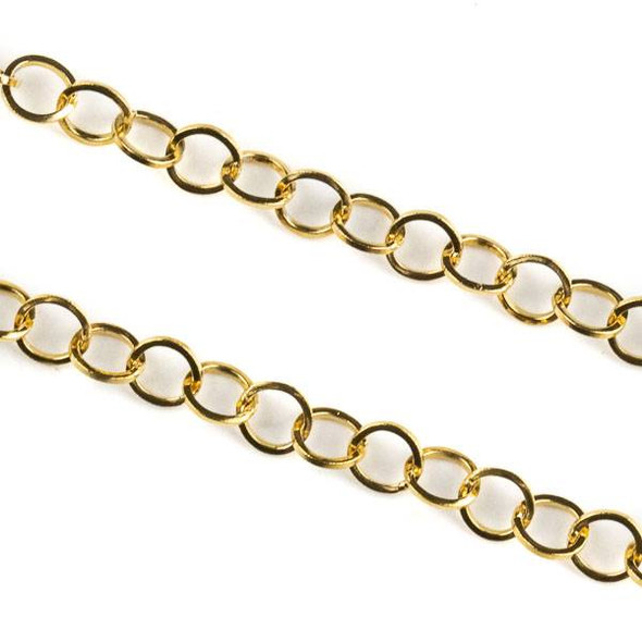 Gold Plated Stainless Steel 4mm Cable Chain - 10 meter spool, SS10g-sp