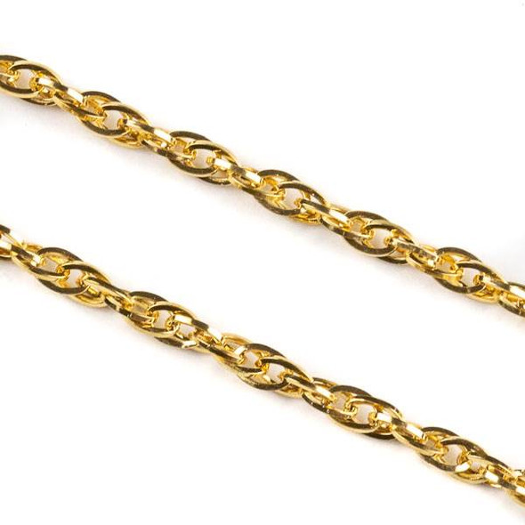 Gold Plated Stainless Steel 3mm Rope Chain - 2 meters, SS08g-2m