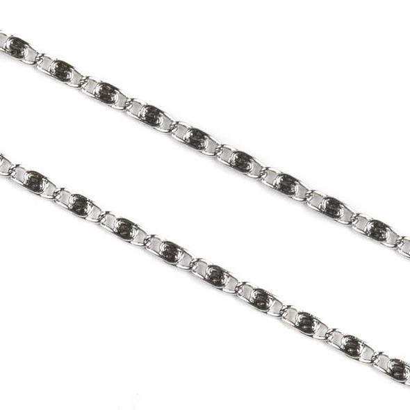 Natural Silver Stainless Steel 2mm Snail Chain - 1 meter, SS06s-1m