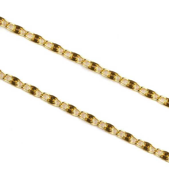 Gold Plated Stainless Steel 2mm Snail Chain - 10 meter spool, SS06g-sp