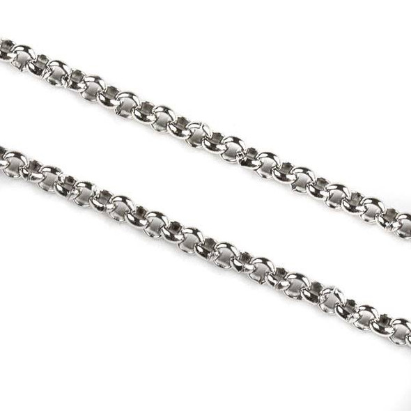 Natural Silver Stainless Steel 2mm Rolo Chain - 10 meter spool, SS04s-sp