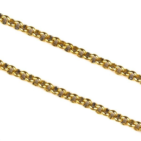 Gold Plated Stainless Steel 2mm Rolo Chain - 10 meter spool, SS04g-sp