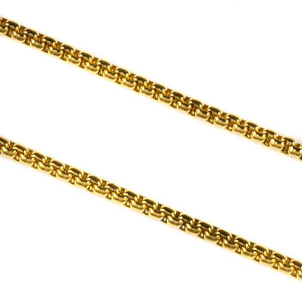 Gold Plated Stainless Steel 2mm Cable Chain - 8.9 meter spool, SS03g-sp