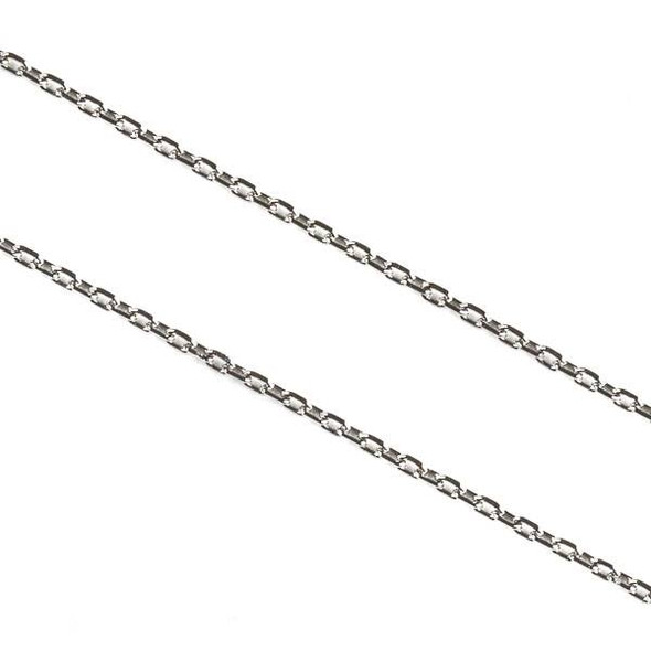 Natural Silver Stainless Steel 1mm Small Flat Cable Chain - 2 meters, SS01s-2m