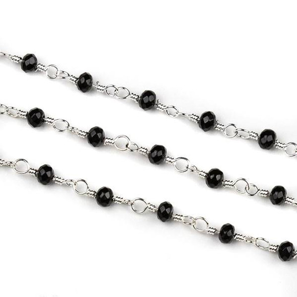 Handmade Silver Plated Brass Chain with Onyx 3x4mm Faceted Rondelle Beads - 5 meter spool