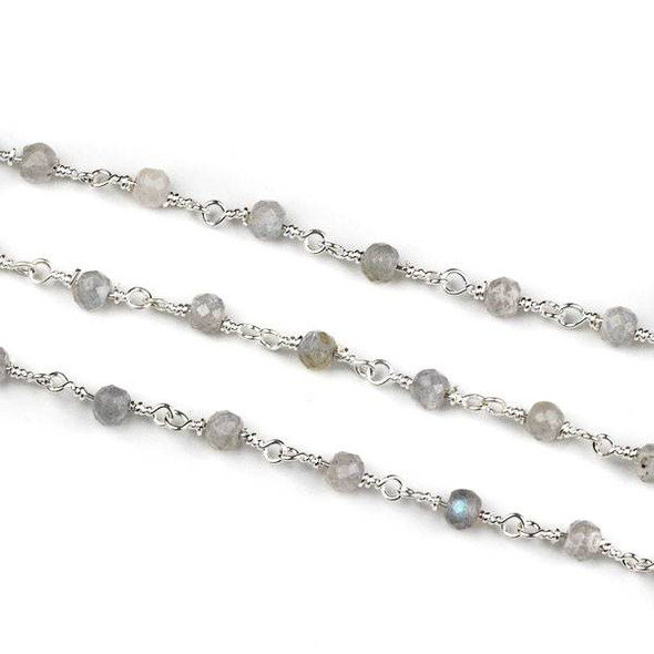Handmade Silver Plated Brass Chain with Blue Labradorite 3x4mm Faceted Rondelle Beads - 5 meter spool