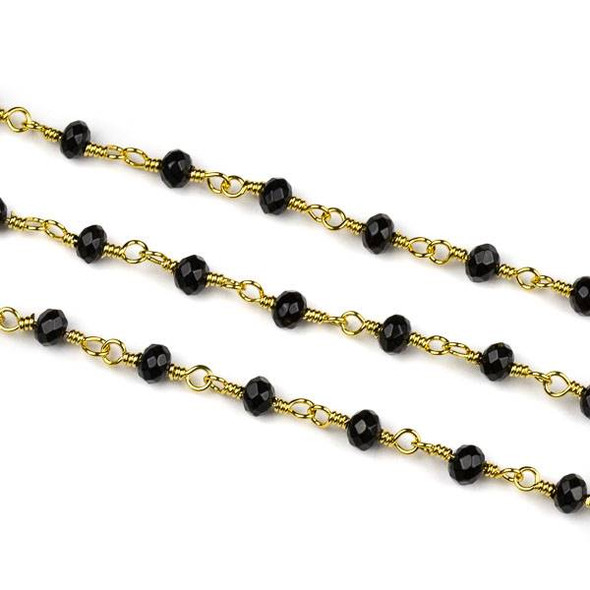 Handmade Gold Plated Brass Chain with Onyx 3x4mm Faceted Rondelle Beads - 5 meter spool
