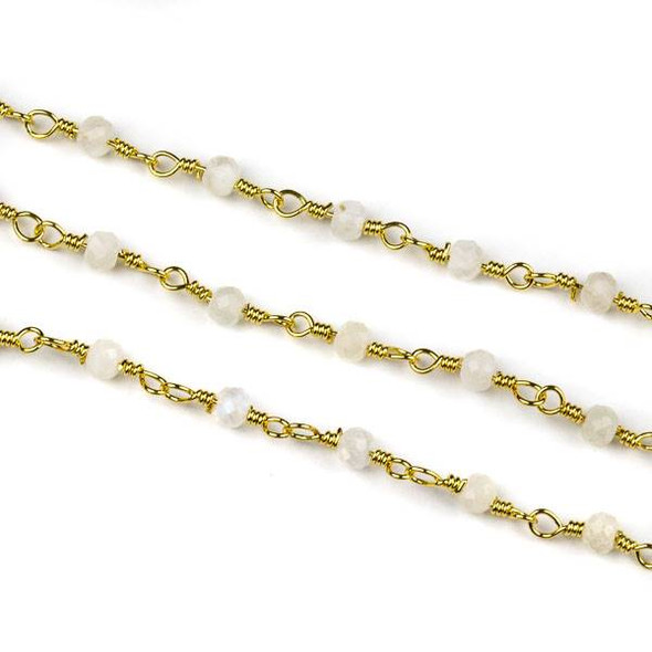 Handmade Gold Plated Brass Chain with Moonstone 3x4mm Faceted Rondelle Beads - 5 meter spool