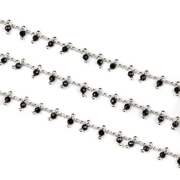 Handmade Silver Plated Brass Dangle Chain with Black Spinel 2mm Faceted Round Beads - 1 foot