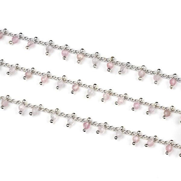 Handmade Silver Plated Brass Dangle Chain with Rose Quartz 2mm Faceted Round Beads - 1 foot