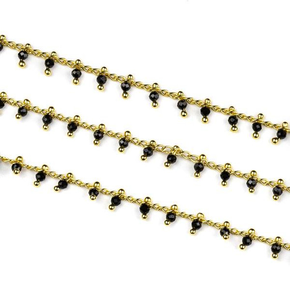 Handmade Gold Plated Brass Dangle Chain with Black Spinel 2mm Faceted Round Beads - 1 foot