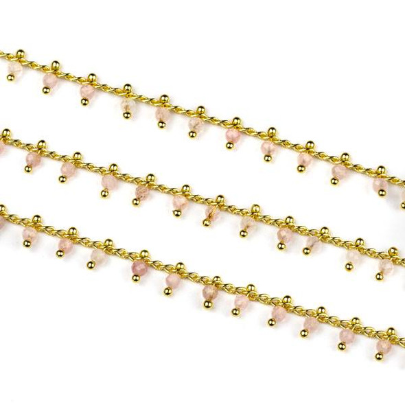 Handmade Gold Plated Brass Dangle Chain with Rose Quartz 2mm Faceted Round Beads - 1 foot