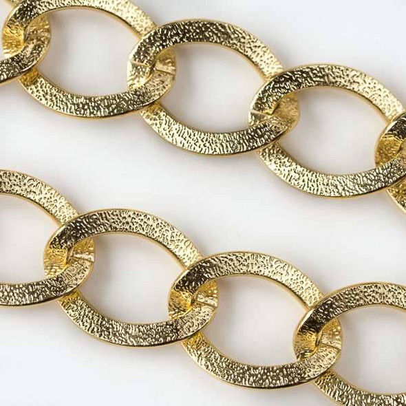 Two Tone Gold Aluminum Chain with 23x32mm Flat Textured Open Oval Links - chainK818g-spool