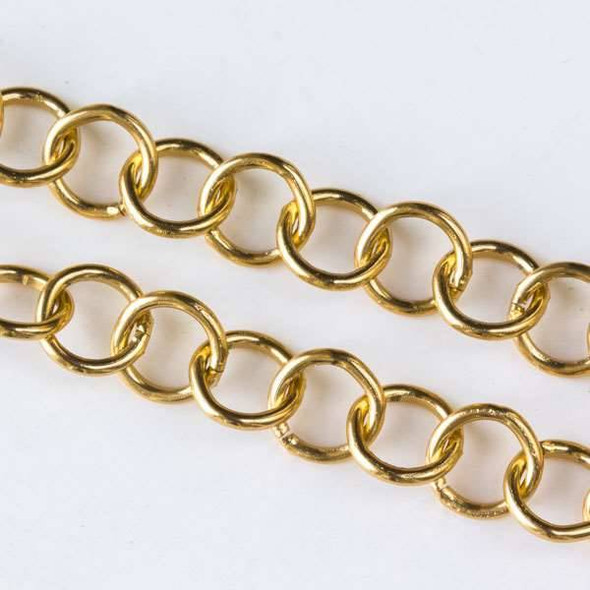 Gold Aluminum Chain with 7mm Open Round Links - chainK18307g-spool