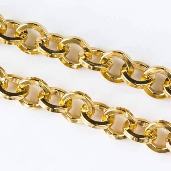 Gold Aluminum Chain with 7mm Squared Round Links - chainK15305g-spool