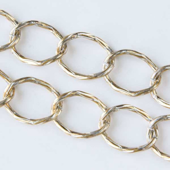 Double Color Gold and Silver Aluminum Chain with 15x20mm Open Twisted Textured Oval Links - chainK14307gs - 1 foot