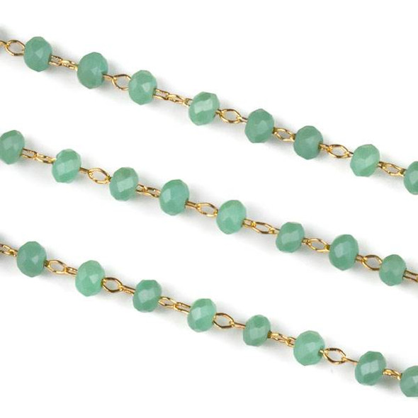 Handmade Gold Plated Brass Delicate Chain with 2mm Matte Sage Green Crystal Rondelle Beads - 1 foot