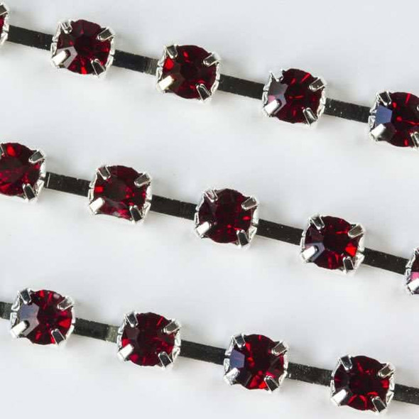 Silver Base Metal 3mm Cup Chain with 3mm Spaces and Red Garnet Crystals - 1 foot