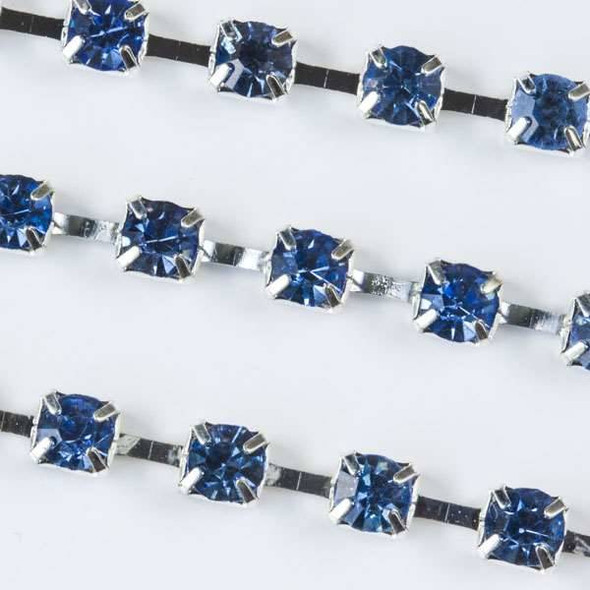 Silver Base Metal 3mm Cup Chain with 3mm Spaces and Light Blue Sapphire Crystals - Spool