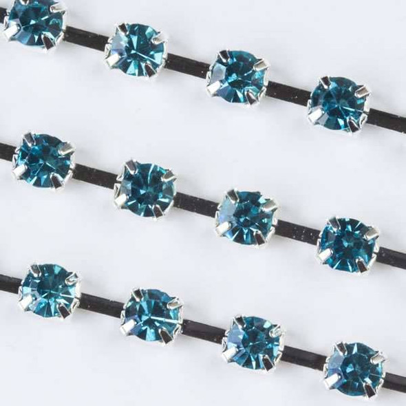 Silver Base Metal 3mm Cup Chain with 3mm Spaces and Aqua Blue Crystals - 1 foot